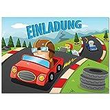12 Einladungskarten mit Motiv Rennwagen / Autorennen. Einladungen zum Geburtstag / Kindergeburtstag im Set für Jungen mit Rennautos / Auto