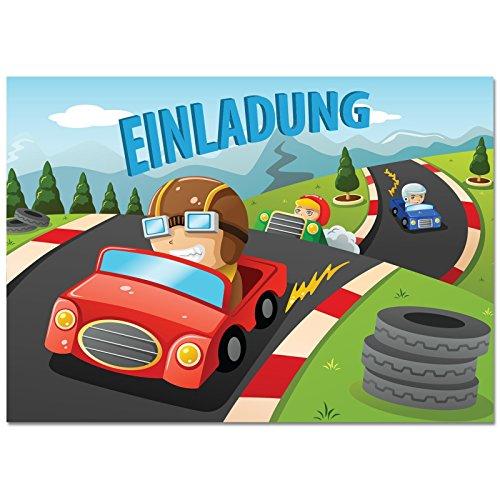 mit Motiv Rennwagen / Autorennen. Einladungen zum Geburtstag / Kindergeburtstag im Set für Jungen mit Rennautos / Auto (Rennen-auto-einladungen)