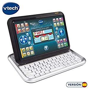 VTech 80-155522 - Genio Little App, Ordenador tablet educativo para jugar y aprender de dos maneras distintas, 80 actividades que enseñan letras, inglés, matemáticas, ciencias, lógica, color Negro