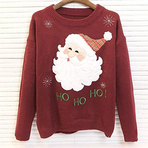 Yunfeng weihnachtsmann kostüm Damen Santa Stickerei Schneemann Print Langen Ärmeln runden Kragen Pullover Pullover Frau Kostüm Erwachsene Weihnachtsfeier Cosplay ()