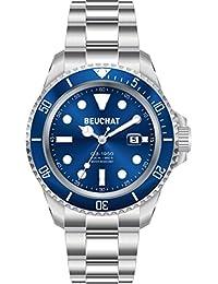 BEUCHAT GB 1950 BEU1950/6 - Reloj con correa de acero con cierre desplegable, fondo azul, resistente al agua, 200 m, diámetro de 44 mm