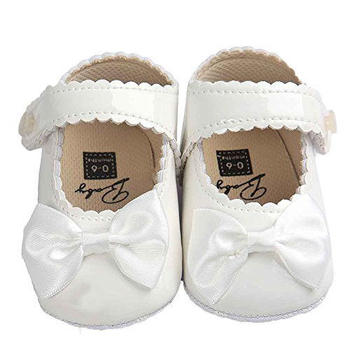 Switchali Baby Girl Bowknot pu Leather Shoes Sneaker Anti-slip Soft Sole Toddler Shoes (UK:2/6~12 Month, White)