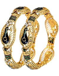 DeAaaStyle Fashion Gold Plated Peacock Designed Bangles For Women And Girls For Traditional Wedding Size 2.6