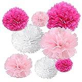 Gold Fortune 18Tissue zum Aufhängen Papier Pompons, Flower Ball Hochzeit Party Outdoor Dekoration Seidenpapier Pom Pom Blumen Craft Kit Fuchsia And Pink And White