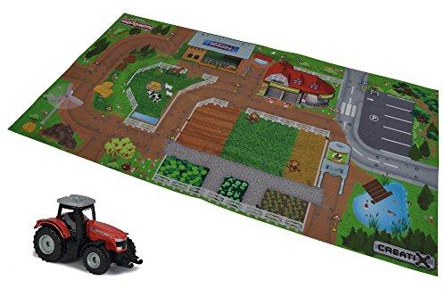 MAJORETTE 212056413Creatix Playmat Farm, spielmatte Incluye Massey Ferguson Tractor, Die-cast, 7,5cm, 96x 51,2cm