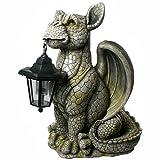 SSITG XL Drache mit Solar Laterne Drachen Figur Gartenfigur Solarlaterne Deko Fantasy
