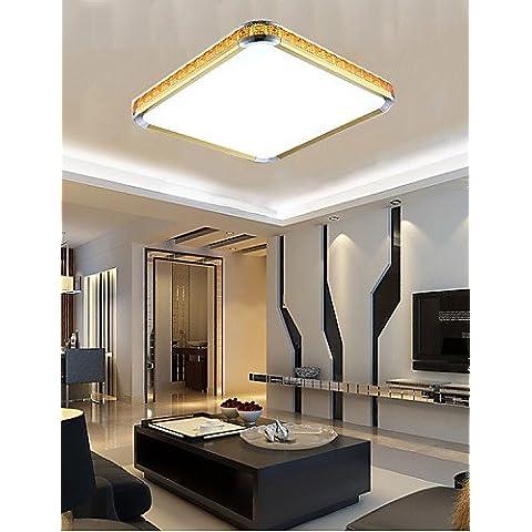 LYNDM-Mejor regalo de Navidad, 16W NEW Flush Mounte Luz LED Acrílico moderno de lujo con luz ajustable de oro o de plata puede elegir , blanco cálido-220-240v