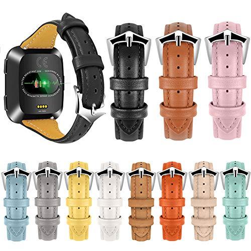 Preisvergleich Produktbild Duk3ichton Uhrenarmband Verstellbares Echtleder-Uhrenarmband Ersatz Für Fitbit Versa Gelb