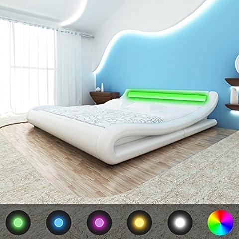 vidaXL–Cama de piel sintética con cabecero LED blanco 140cm–colchón con memoria