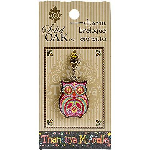 Madera de roble maciza Thaneeya (R) LLC Acrílico encanto búho con símbolo de la Paz, acrílico, multicolor, 3piezas