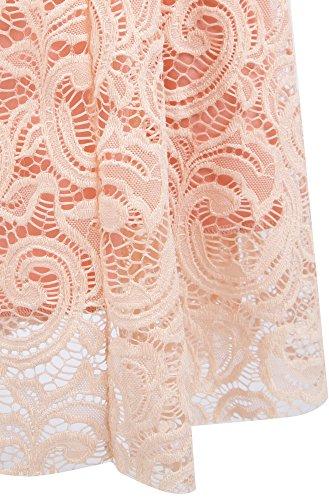 Angel-fashions Femme Perce de dentelle robe de bal Crystal Split colonne Rose orange