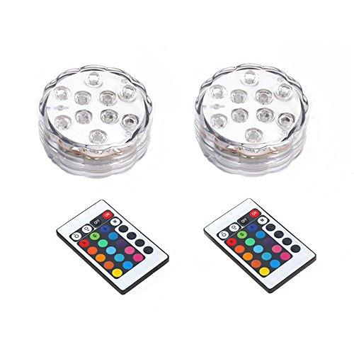 Saflyse 2PCS Multicolor RGB LED unterwasser Wasserdicht Lampe Leuchte Deko Lichter Schwimmlichter Beleuchtung f. Water Garden,Aquarium, Badewanne Pool und Spa etc (2)