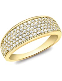 Carissima Gold Cubic Zirconia Pave Set Tapered Ring