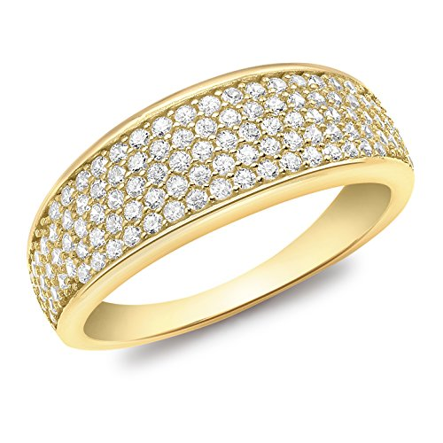 Carissima Gold Damen-Ring Pave Set Tapered - Size K 375 Gelbgold Zirkonia transparent Rundschliff Gr. 50 (15.9) - 1.48.8749