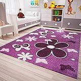 VIMODA Kinder Teppich Modern Blumen Sterne Farbe Lila Pflegeleicht 80x150 cm