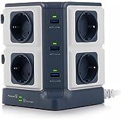 BESTEK Schaltbare 8 Fach Steckdosenleiste Mehrfachsteckdosen Steckdosenturm mit 6 USB Ladeports ( 5V/8A ) hat 1500J Überspannungsschutz und Kindersicherung 3600W/16A