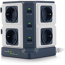 BESTEK Regleta Vertical de 8 Tomas y 6 Puertos de USB, Regleta de 1500J Surge Protección, Regleta de 3600W/16A