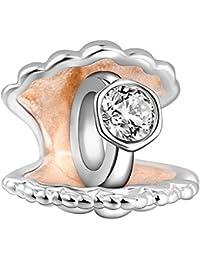 Soufeel 925 Sterling Silber Rose Gold Flussperlmuschel Kristall Charm Anhänger Bead