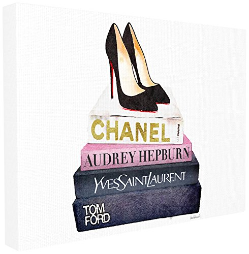 Stupell Industries Glam Fashion Book Set schwarz Pumpe Heels XXL gedehnt Art Wand, Stolz Made in USA, Leinwand, mehrfarbig, 76,2x 3,81x 101,6cm (Wand Heels)