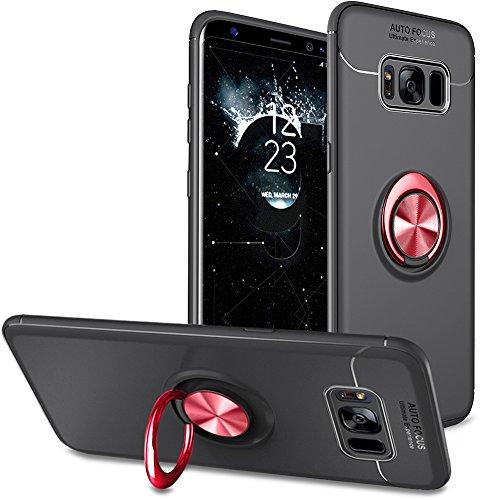 BtDuck Galaxy S8 Hülle Schwarz, Ultra Slim Matt Dünn Silikon Hülle mit Metall Ring Handyhalterung Auto Magnet Ständer Bumper Case Ringhalter Hülle für Samusng Galaxy S8 Schwarz-Rot