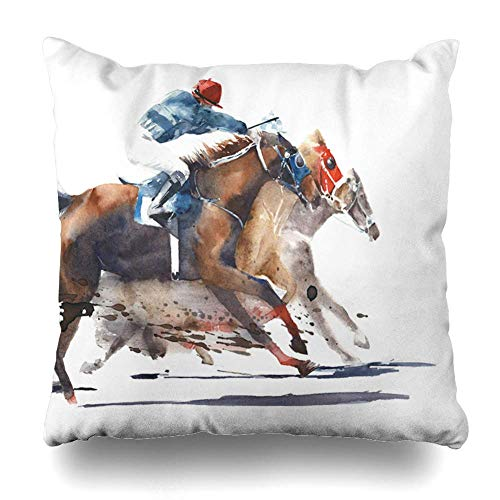 ONewteecap Throw Pillow Covers Sketch Watercolor Painting Horse Race Competition Derby Horses Racing Sports Recreation Jockey Home Decor Pillow Case Square Size 16 x 16 Inches Zippered Pillowcase