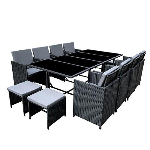 POLY RATTAN Essgruppe Rattan Set mit Glastisch Garnitur Gartenmöbel Sitzgruppe Lounge (8 Stühle, Schwarz)