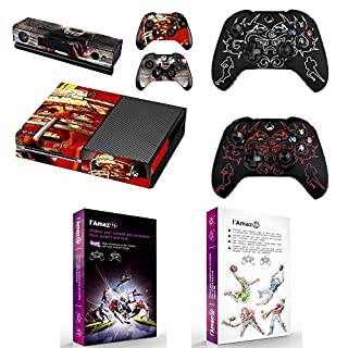 L'Amazo Custom Protective XBOX ONE Skins Bundle Gift Set of console Vinyl decals stickers and 2x controller silicone cover cases in retail Box Gamer Kit American Football Design +