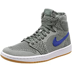 Nike Air Jordan 1 Retro HI Flyknit BG Basketball Trainers 919702 Sneakers Zapatos (UK 6 us 7Y EU 40, Clay Green White 333)