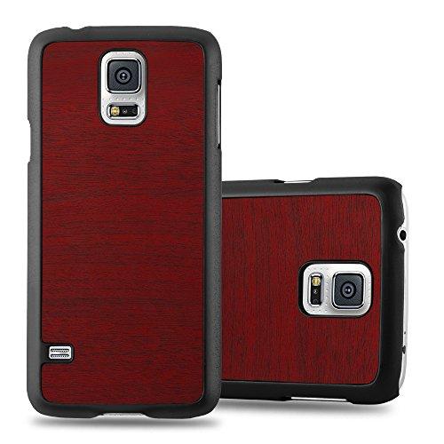Preisvergleich Produktbild Cadorabo Hülle für Samsung Galaxy S5 Mini / S5 Mini DUOS - Hülle in Woody ROT – Hardcase Handyhülle in Vintage Holz Optik - Schutzhülle Bumper Back Case Cover