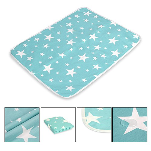 Letech® Wickelunterlage für Babys und Kleinkinder, wasserdicht, waschbar, wiederverwendbare Windel Matte (L (60*75cm), Stern)
