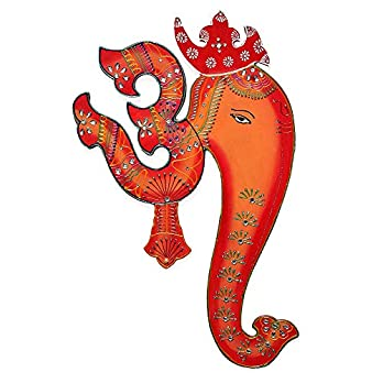 Om Ganesh Wall Hanging Painting – Orange & Red Base Colours with Decorative Motifs