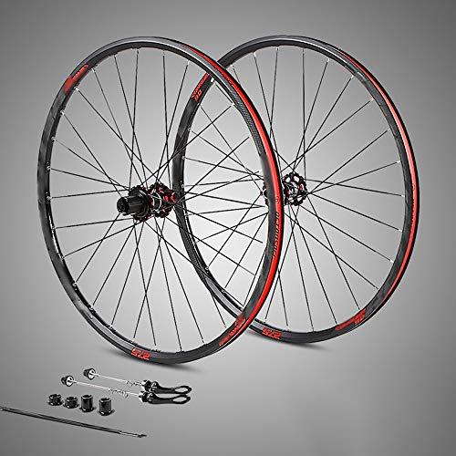 QXFJ 27,5/29 Zoll Fahrrad-Rad,Fahrrad Laufradsatz Aluminium-Vier-Palin-Schaft Austauschbar/Vordere Und Hintere 28-Loch-Halterung 8-9-10-11-Geschwindigkeitskartenschwungrad