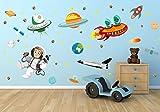 nikima - 005 Wandtattoo Kinderzimmer Weltall Alien Erde Mond Planet Rakete Weltraum Space Astronaut - in 6 Größen - Kinderzimmer Sticker Babyzimmer Wandaufkleber niedliche Wandsticker süße Wanddeko Wandbild Junge Mädchen (1000 x 560 mm)