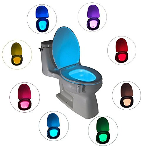 WC Nachtlicht Led toliette licht 8 Wechselnde Farben egymcom Motion-Activated Batteriebetriebenes Licht Toilettenlicht Badezimmer Toiletten Nachtlicht (aktiviert nur in der Dunkelheit)