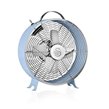 Swan SFA12630BLN, Retro 8 Inch Floor / Desk Clock Fan, Low Noise, Aluminium Blades, 20w, Blue