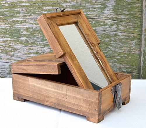 Schrank Schmuck Box Truhe (Dekorative Aufbewahrungsbox mit Spiegel - klappbar - Schmuckkasten aus Holz im Antik Stil - Unikat im Vintage Shabby Chic - auch als Retro Rasierbox verwendbar)