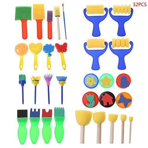 Meiqqm Hot 32-teiliges Set waschbarer Schwamm Malpinsel Set Werkzeug für Kinder Kinder Kleinkinder Früherziehung Spielzeug Kunst Supplies Geschenke (Kleinkinder Thanksgiving-kunst Für)