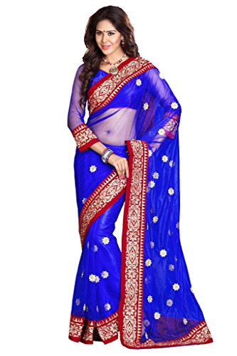 SOURBH Women\'s Net Saree with Blouse Piece, Free Size (Royal Blue, 6957)