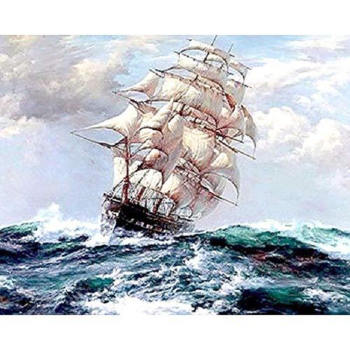 Barco de vela diy pintura by números paisaje marino moderno arte de...