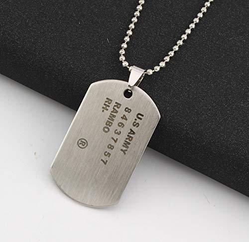 Kostüm Hunde Armee - 1pc Einzigartige Armee Tag Hund Tag Anhänger Mann Kette Halskette Silber Farbe Edelstahl Halsband Charme Frauen Einfachen Schmuck Geschenk 50cm