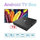 FidgetGear T9 4GB 64GB/ 4GB 32GB RK3328 Quad Core Smart Android 8.1 TV Box Bluetooth4.0 H2.65 4K 2.4GHz/5GHz WiFi Media Player 4G+32G AU Plug Electronic Accessories