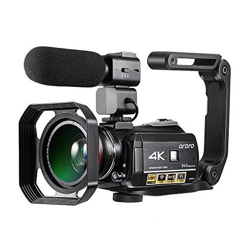 Videocamera 4K, ORDRO Ultra HD Touch Screen IPS da 3.1 Pollici WIFI Visione Notturna Zoom Digitale...