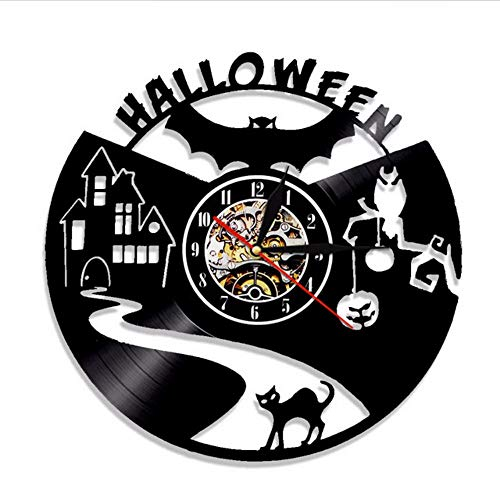 txyang Halloween Vampire Bat Vinyl Record Wanduhr Home Decor Wanduhr Schwarze Katze Silhouette Ausgeschnitten LP Uhr Moderne Wandkunst