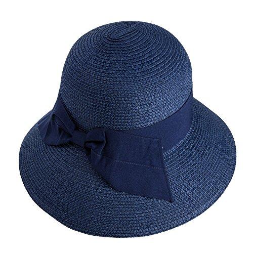 0c3a877eab4c Siggi Femme Chapeau de Paille Pliable Capeline Tresse Été Fedora  Pare-Soleil Large Bord Plage Voyage Bleu Marine