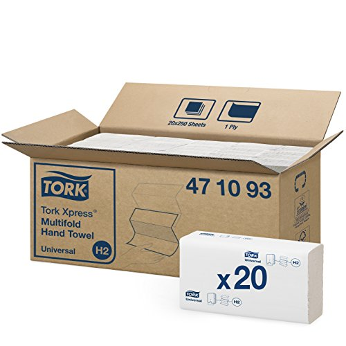 Tork 471093 - Juego de 20 paquetes x 250 toallas de mano entreplegadas en Z, 1 capa, color blanco
