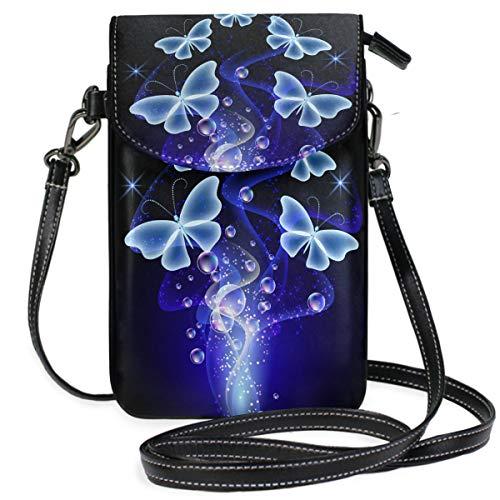 ZZKKO Schmetterlings-Mini-Umhängetasche, Handtasche, Leder, für Damen, für den täglichen Gebrauch auf Reisen, Wandern, Camping -