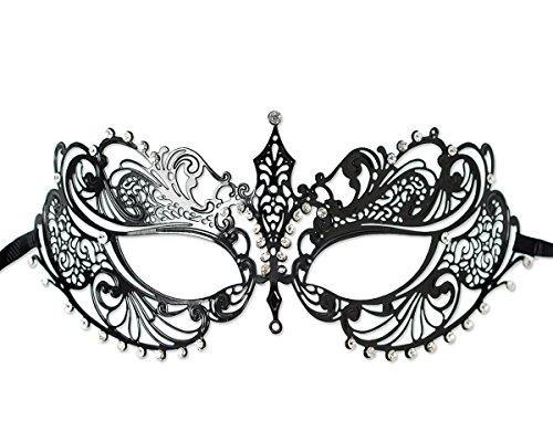 aske im Venezianischen Stil Luxus Metall filigranen Laser Cut Schablonen für Party Ball Halloween Verona M6 - Schwarz (Maskerade-masken Für Frauen Halloween)