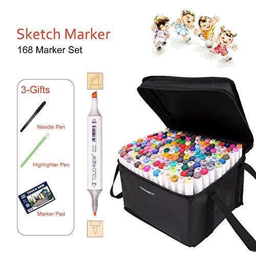 TOUCHNEW Anime Marker Pens, 168 Tinta a Base de Alcohol Art Art Manga Markers para animación, Pintura y Dibujo con Bolsa