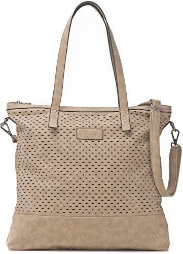 Damen Handtasche, Beige - XXL Shopper mit abnehmbarem Schultergurt - DIN A4 fähiges Format 40,5 x 40,5 x 2,5 cm - Umhängetasche von MIYA BLOOM (Große Jean)