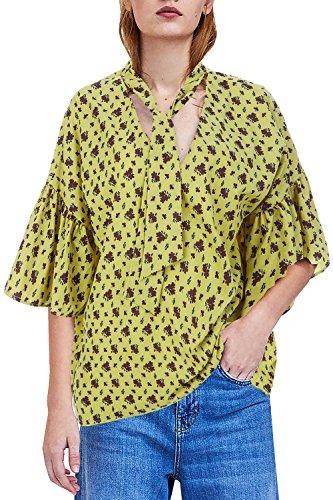 Outgobuy Damen V-Ausschnitt Fliege Bluse 3/4 Puff Ärmel Losen Plain Shirt Top (L, Gelb) (Top Puff Ärmel 3/4)